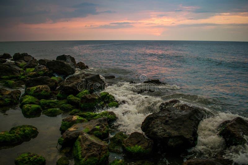 Zonsopgang bij de kust Stenen in het overzees met groene algen wordt behandeld die Een mooi landschap royalty-vrije stock afbeelding