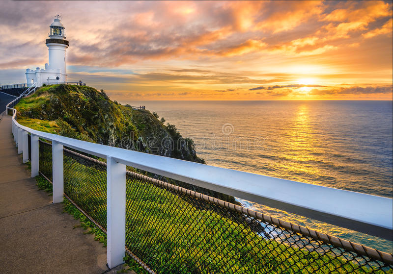 Zonsopgang bij Kaap Byron royalty-vrije stock fotografie