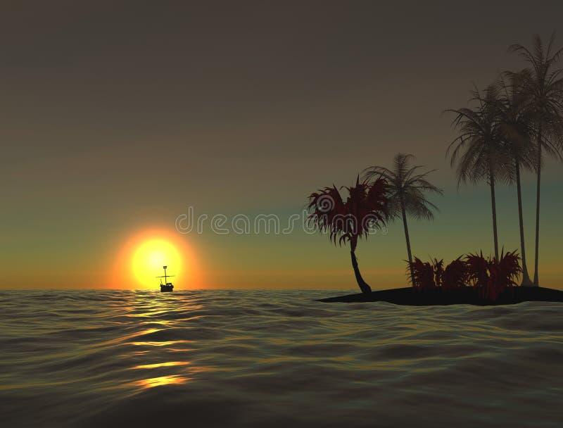 Zonsopgang bij oceaan. Eenzaam eiland. 3D. vector illustratie