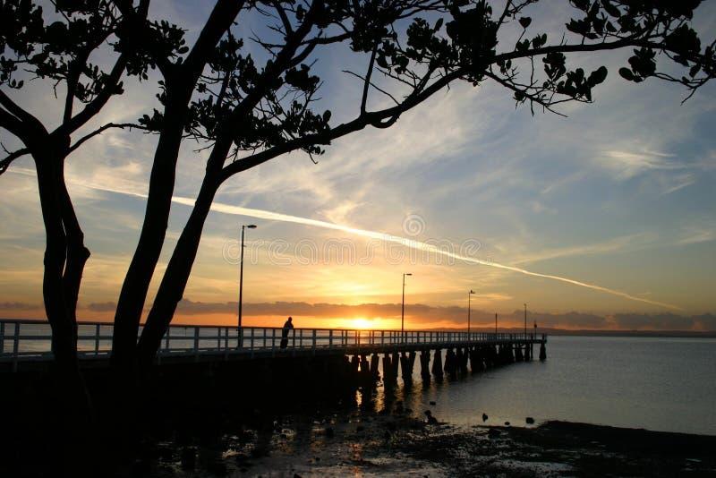 Zonsopgang bij Pier royalty-vrije stock foto