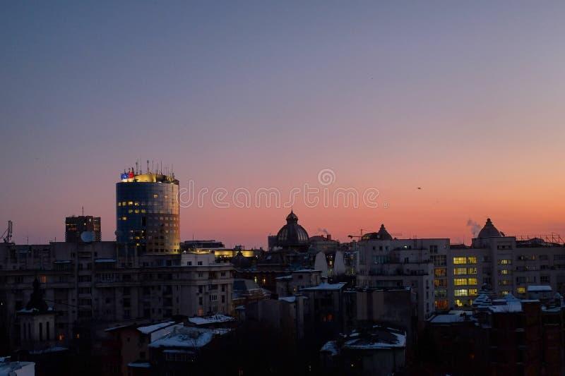 Zonsopgang in Boekarest royalty-vrije stock foto's
