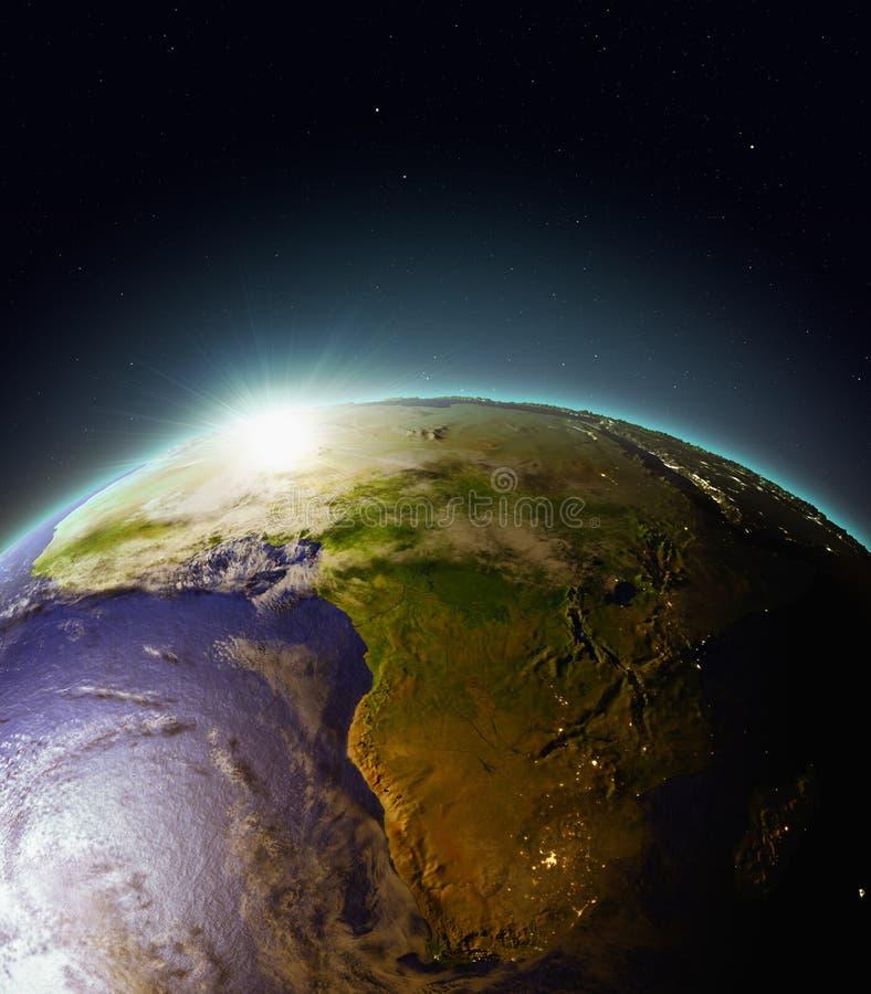 Zonsopgang boven Afrika van ruimte stock illustratie