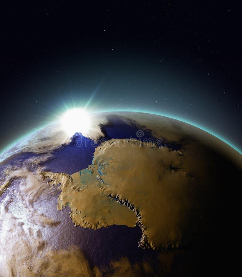 Zonsopgang boven Antarctica van ruimte stock illustratie