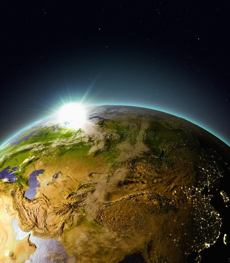 Zonsopgang boven Centraal-Azië van ruimte royalty-vrije illustratie