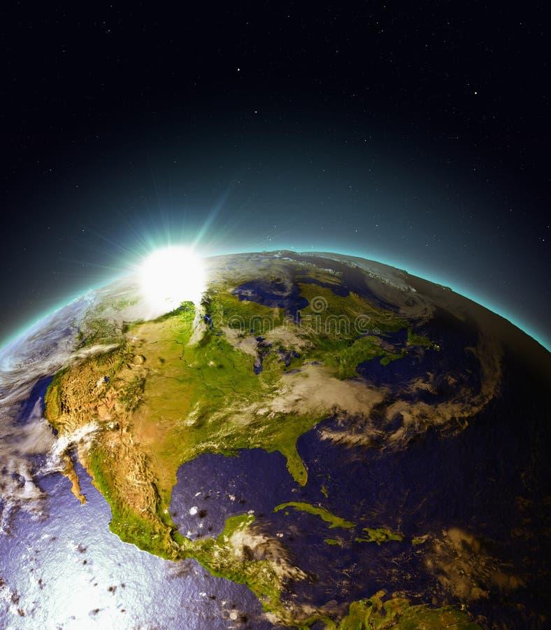 Zonsopgang boven Centraal en Noord-Amerika van ruimte royalty-vrije illustratie