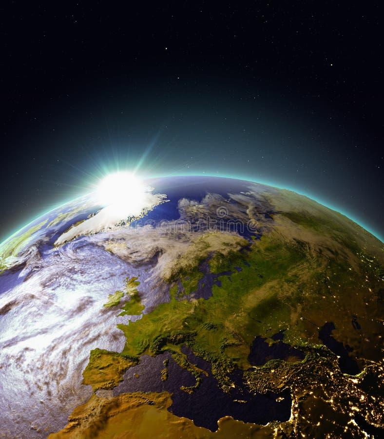 Zonsopgang boven Europa van ruimte vector illustratie