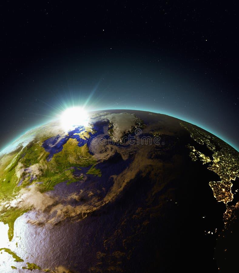 Zonsopgang boven Noord-Atlantische Oceaan van ruimte vector illustratie
