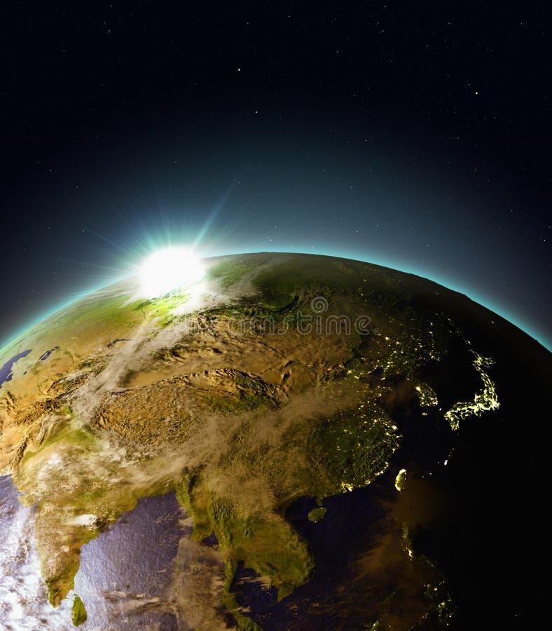 Zonsopgang boven Oost-Azië van ruimte vector illustratie