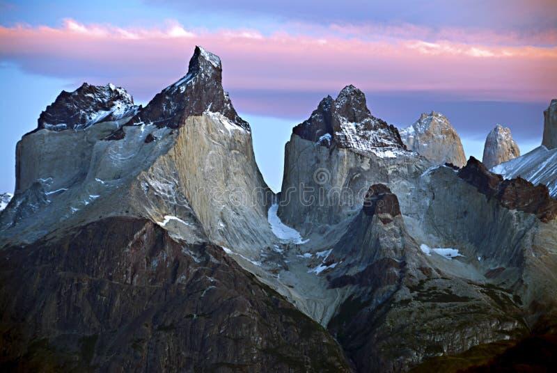 Zonsopgang, Cuernos del Paine royalty-vrije stock foto