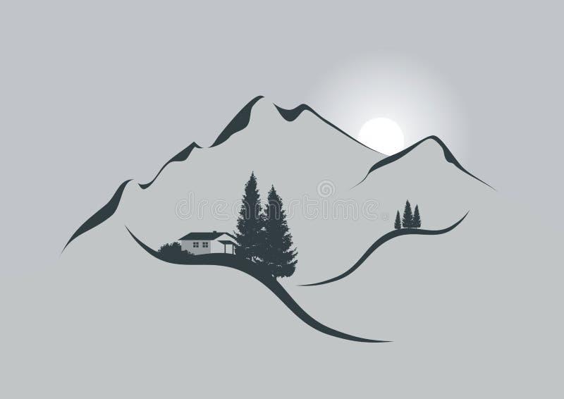 Zonsopgang in de alpen royalty-vrije illustratie