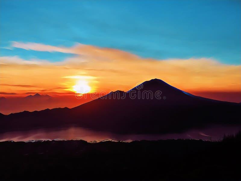 Zonsopgang in de bergen digitale illustratie Het spectaculaire beeld van het zonsopganglandschap royalty-vrije illustratie