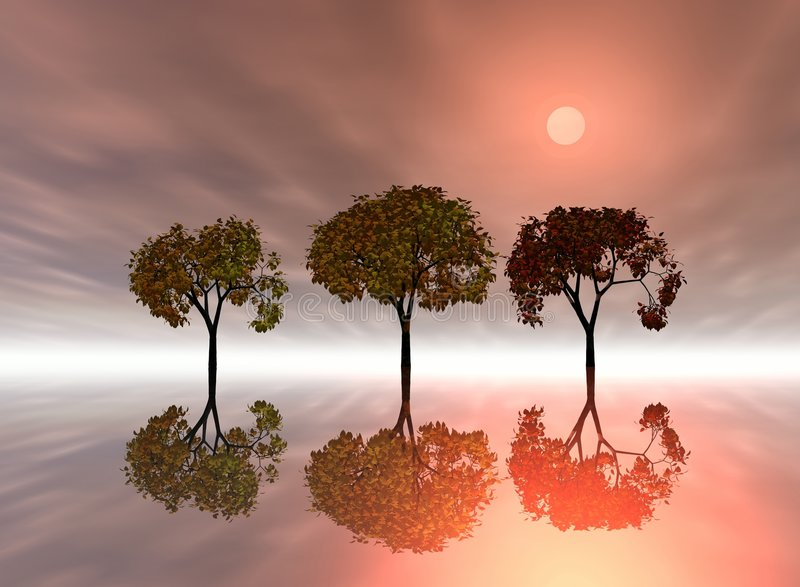 Zonsopgang. De bomen van het trio vector illustratie