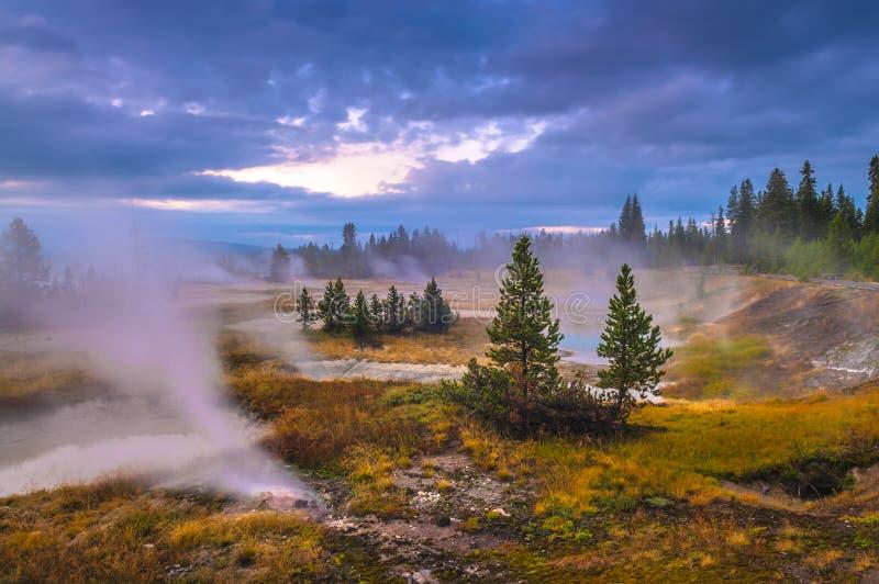 Zonsopgang in de Geiserbassin van de het Westenduim - Yellowstone stock afbeelding