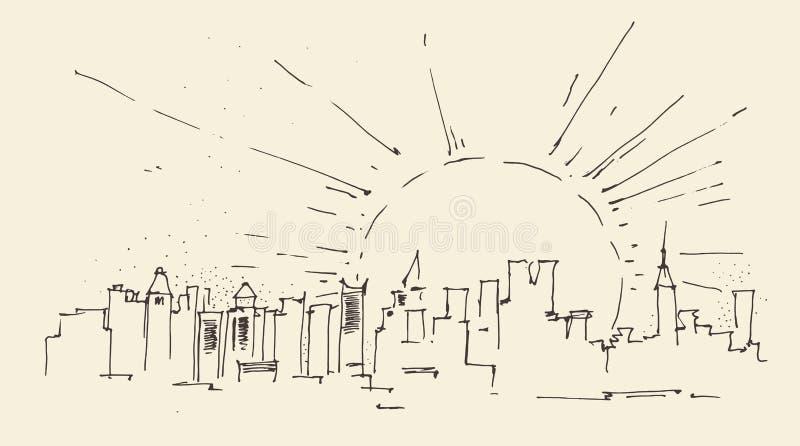 Zonsopgang in de stadsarchitectuur van New York, wijnoogst gegraveerde illustratie, getrokken hand vector illustratie