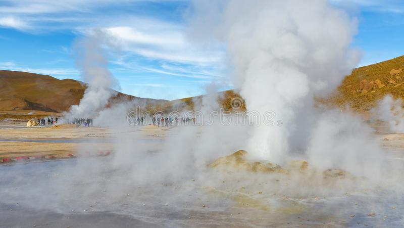 Zonsopgang in de Tatio-Geisers, Atacama-Gebied, Chili royalty-vrije stock foto's