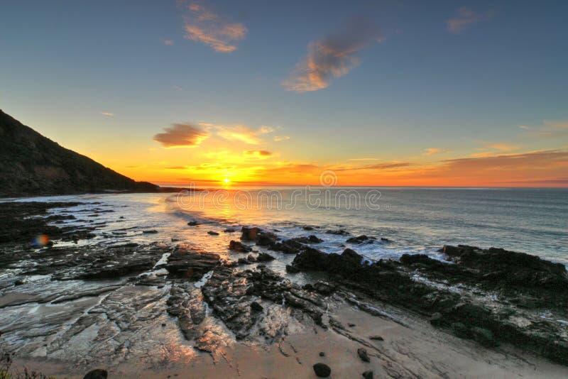 Zonsopgang door de Grote Oceaanweg, Victoria, Australië stock foto
