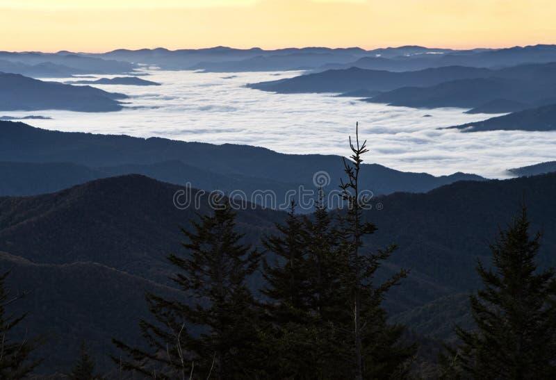 Zonsopgang en mist in het Nationale Park van Great Smoky Mountains in daling stock foto
