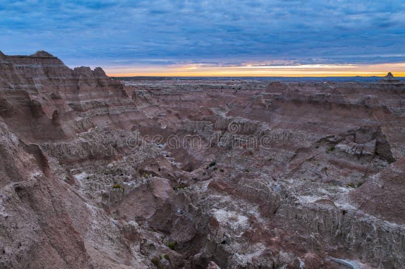 Zonsopgang in het Nationale Park van Badlands stock fotografie