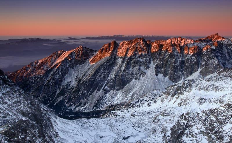 Zonsopgang in Hoge Tatras - Slowakije stock afbeelding