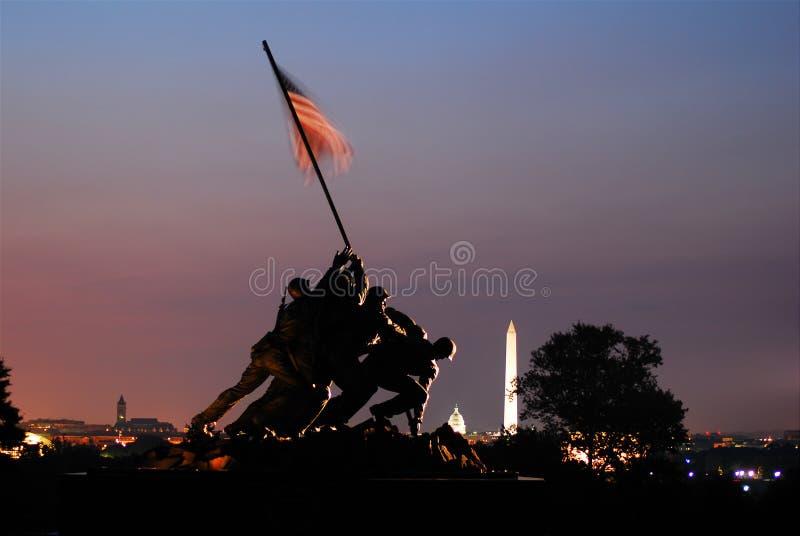 Zonsopgang in Marine Corp Memorial stock fotografie