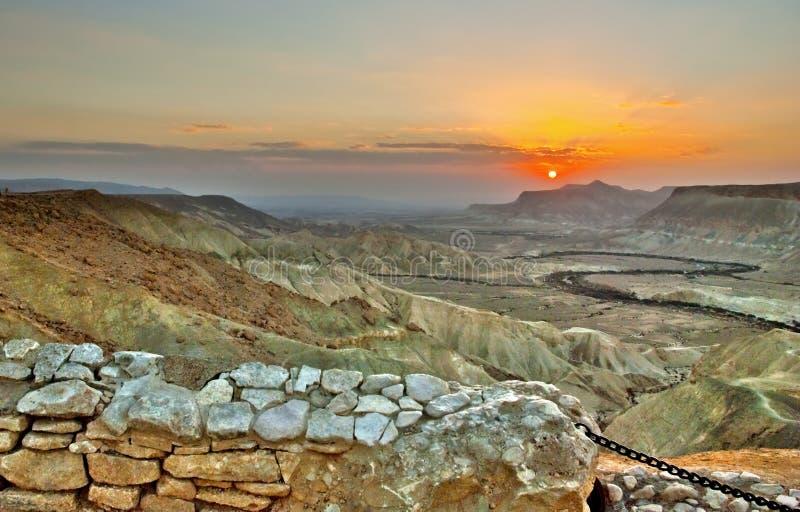 Zonsopgang in Negev royalty-vrije stock fotografie