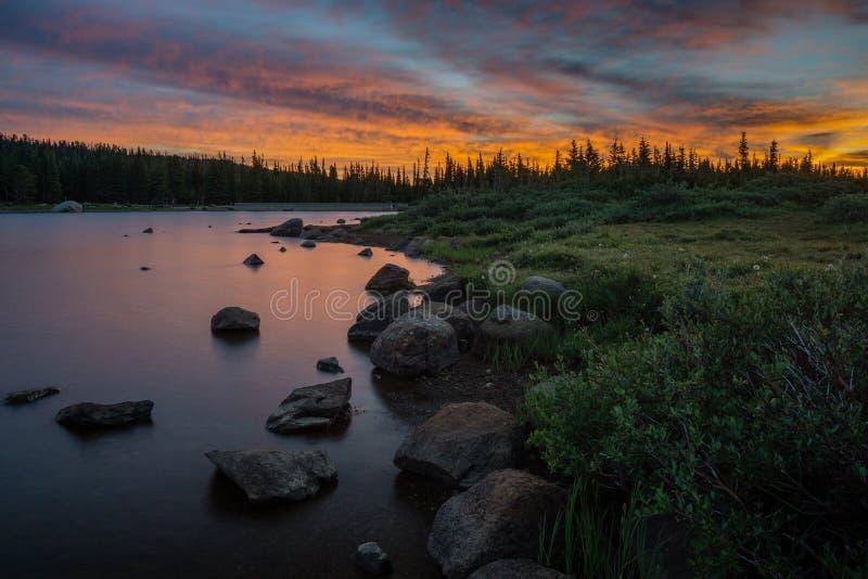 Zonsopgang op Brainard-Meer, Colorado stock afbeelding