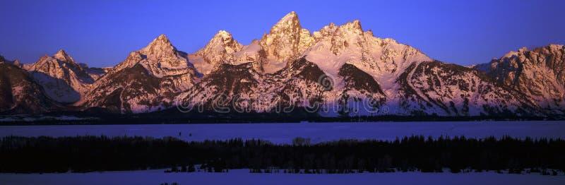 Zonsopgang op Grote Tetons royalty-vrije stock fotografie
