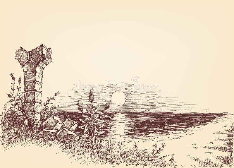 Zonsopgang op het strand vector illustratie