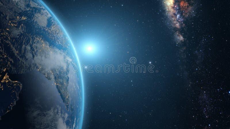 Zonsopgang over Aarde royalty-vrije stock afbeelding