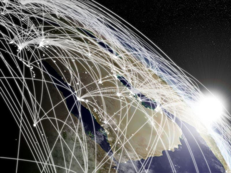 Zonsopgang over Arabisch schiereiland met netwerk stock illustratie