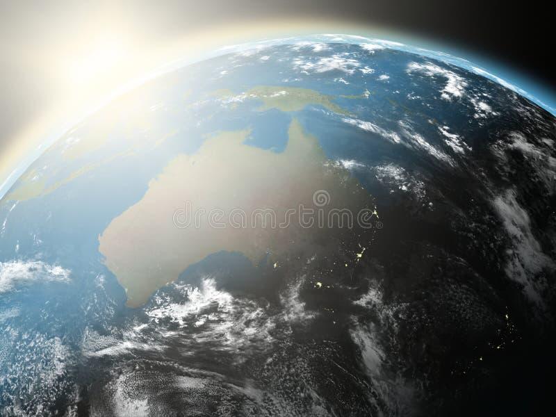 Zonsopgang over Australië stock illustratie