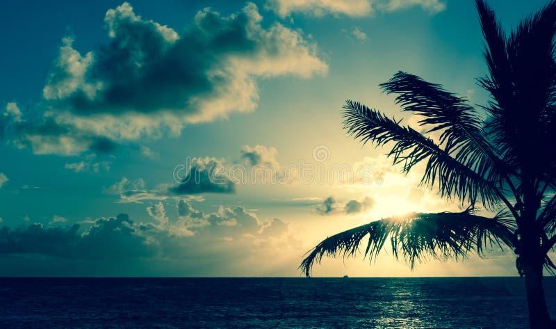 Zonsopgang over Caraïbische overzees royalty-vrije stock foto