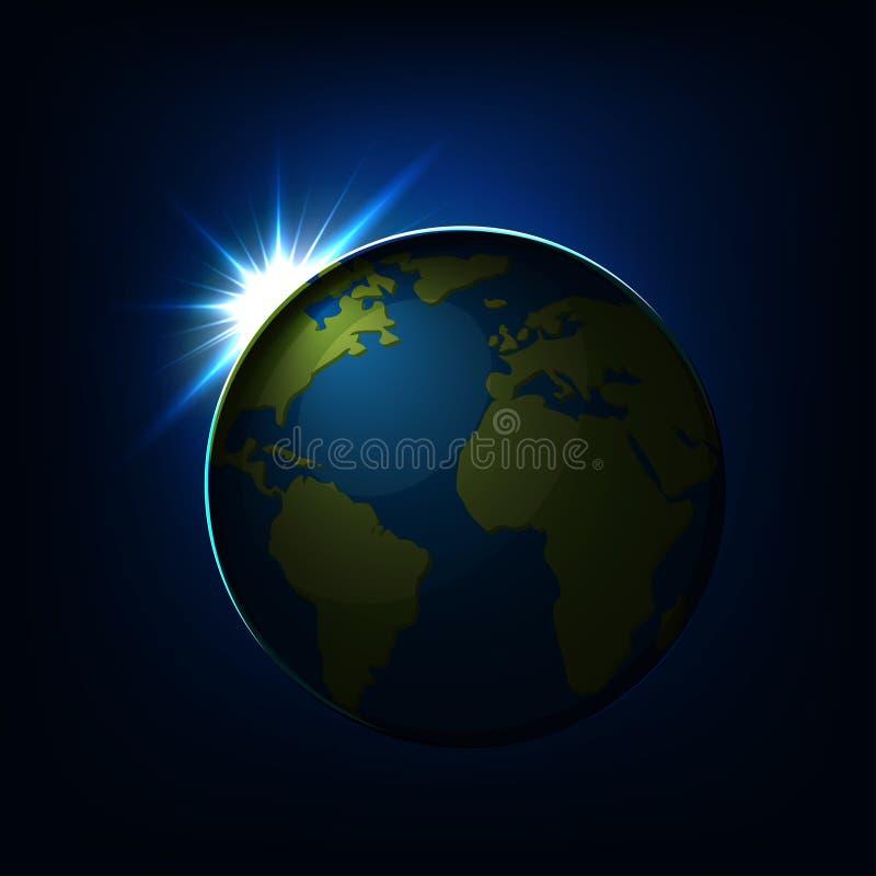 Zonsopgang over de Aardebol met groene continenten en blauwe oceaanmening van ruimte V royalty-vrije illustratie