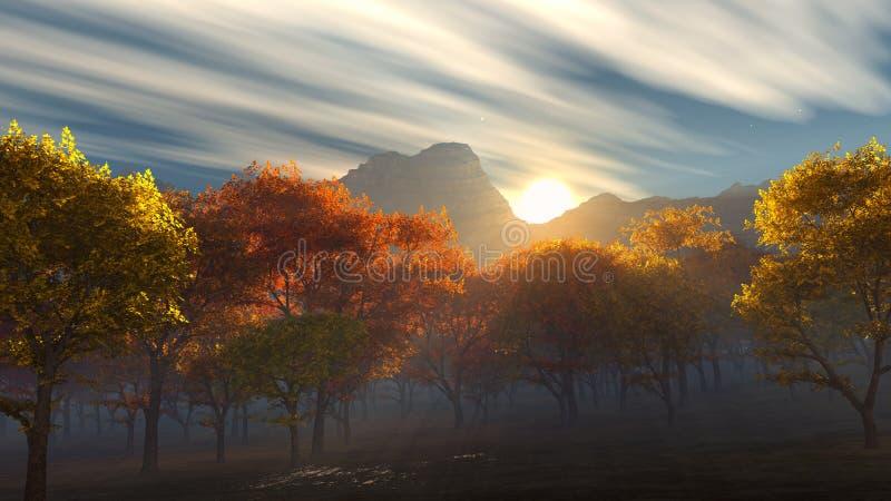 Zonsopgang over de de herfst gele en rode bomen stock afbeelding