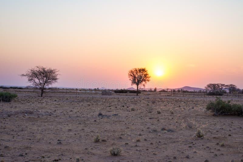 Zonsopgang over de Namib-woestijn, roadtrip in het prachtige Nationale Park van Namib Naukluft, reisbestemming in Namibië, Afrika stock afbeelding