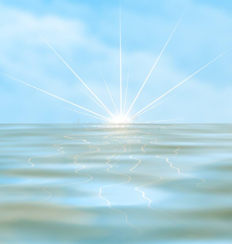 Zonsopgang over de oceaan vector illustratie