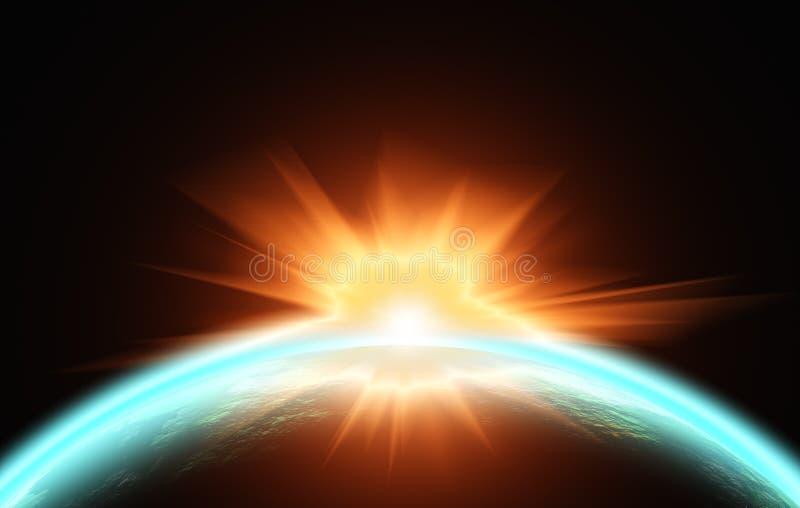 Zonsopgang over de planeet. Mening van ruimte