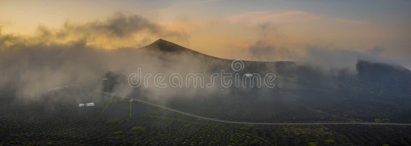 Zonsopgang over de wijngaarden van La Geria stock foto