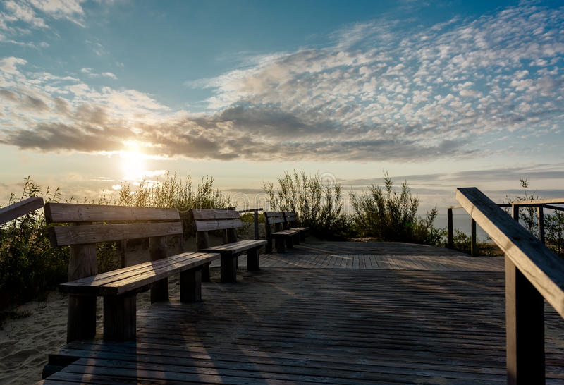 Zonsopgang over het Curonian-spit stock foto's