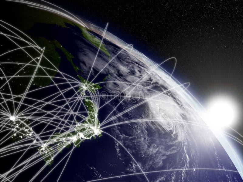 Zonsopgang over Japan met netwerk vector illustratie