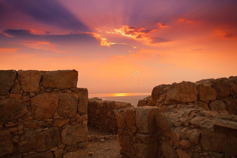 Zonsopgang over Masada royalty-vrije stock afbeelding