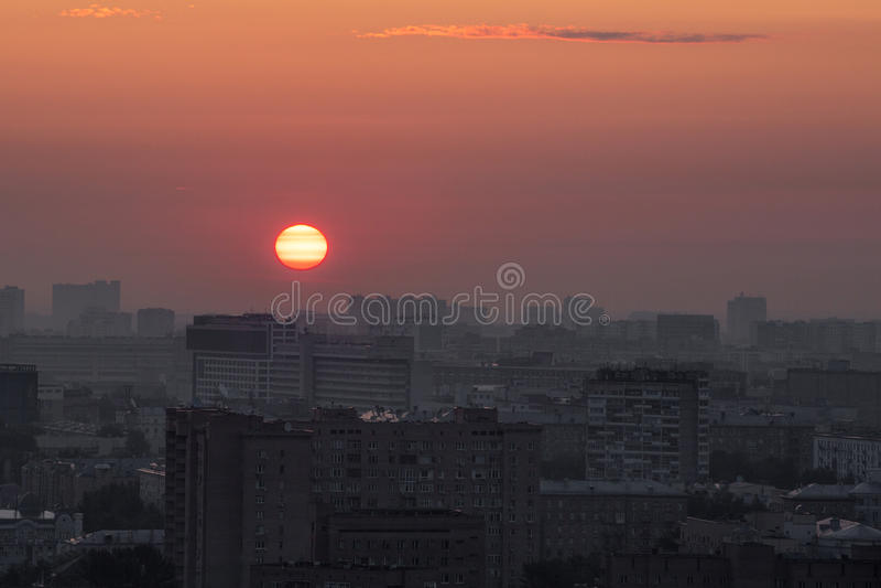 Zonsopgang over Moskou royalty-vrije stock foto's