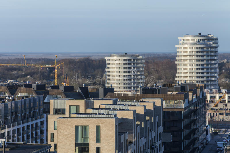 Zonsopgang over stad royalty-vrije stock afbeelding