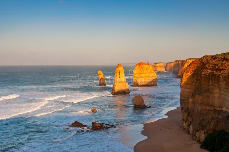 Zonsopgang over Twelves-Apostelen Victoria Australia royalty-vrije stock afbeeldingen