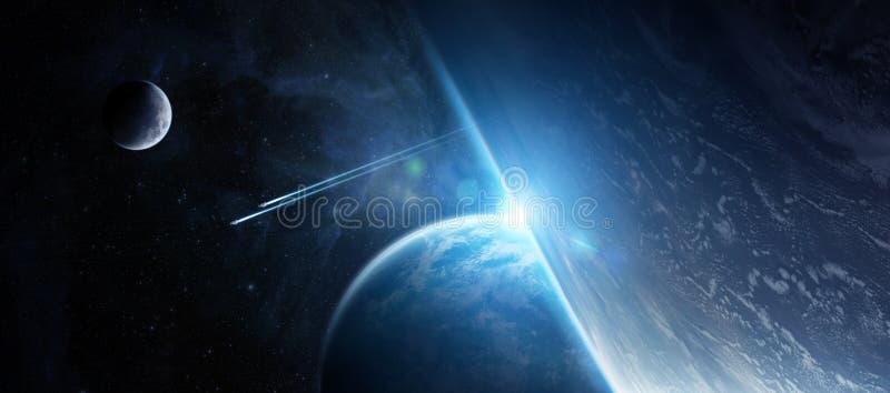 Zonsopgang over ver planeetsysteem in ruimte 3D teruggevend element royalty-vrije illustratie