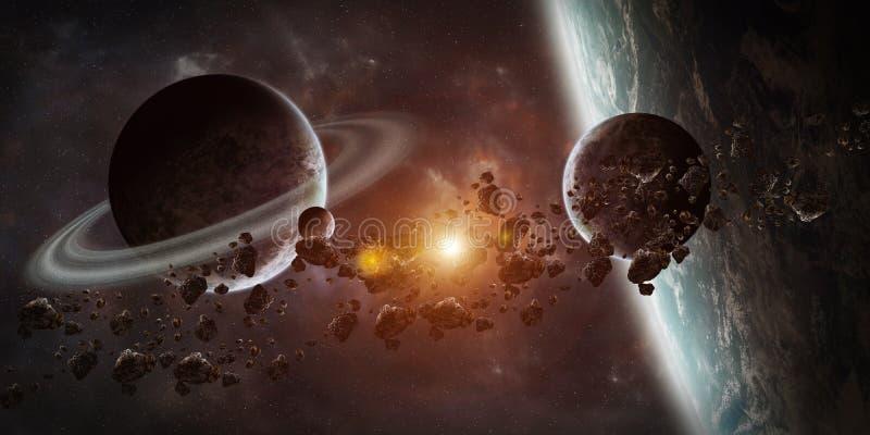 Zonsopgang over ver planeetsysteem in ruimte 3D teruggevend element stock illustratie