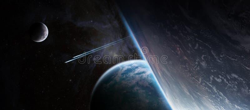 Zonsopgang over ver planeetsysteem in ruimte 3D teruggevend element vector illustratie