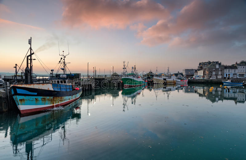 Zonsopgang in Padstow in Cornwall stock fotografie