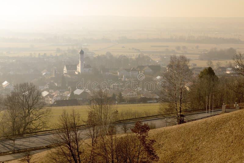 zonsopgang in Paehl Weilheim Beieren Duitsland royalty-vrije stock afbeeldingen