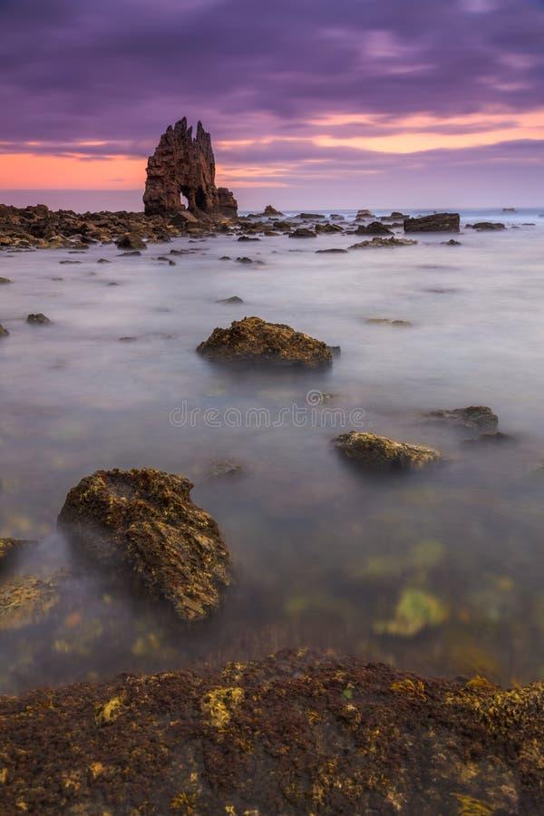 Zonsopgang in Playa DE Portizuelo stock afbeeldingen